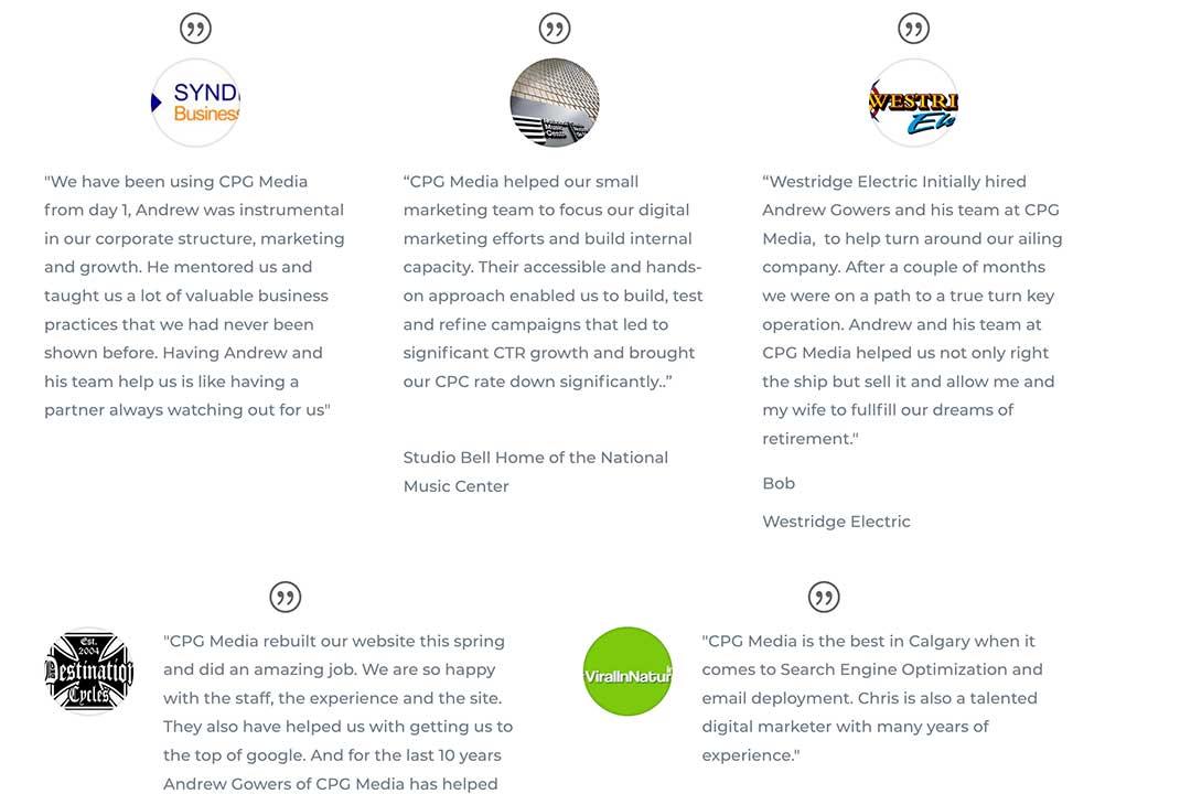 Our Work Portfolio - Client Testimonials