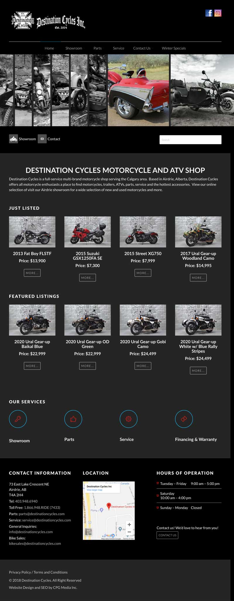 Destination Cycles - CPG Web Design
