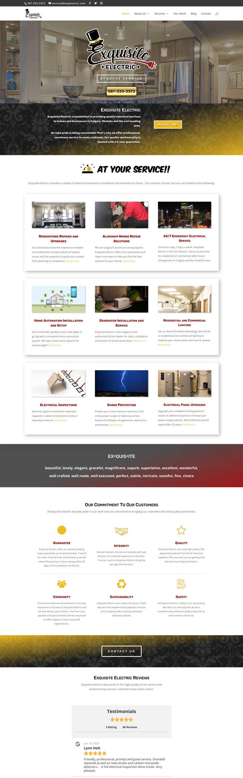 Exquisite Electric  - CPG Web Design