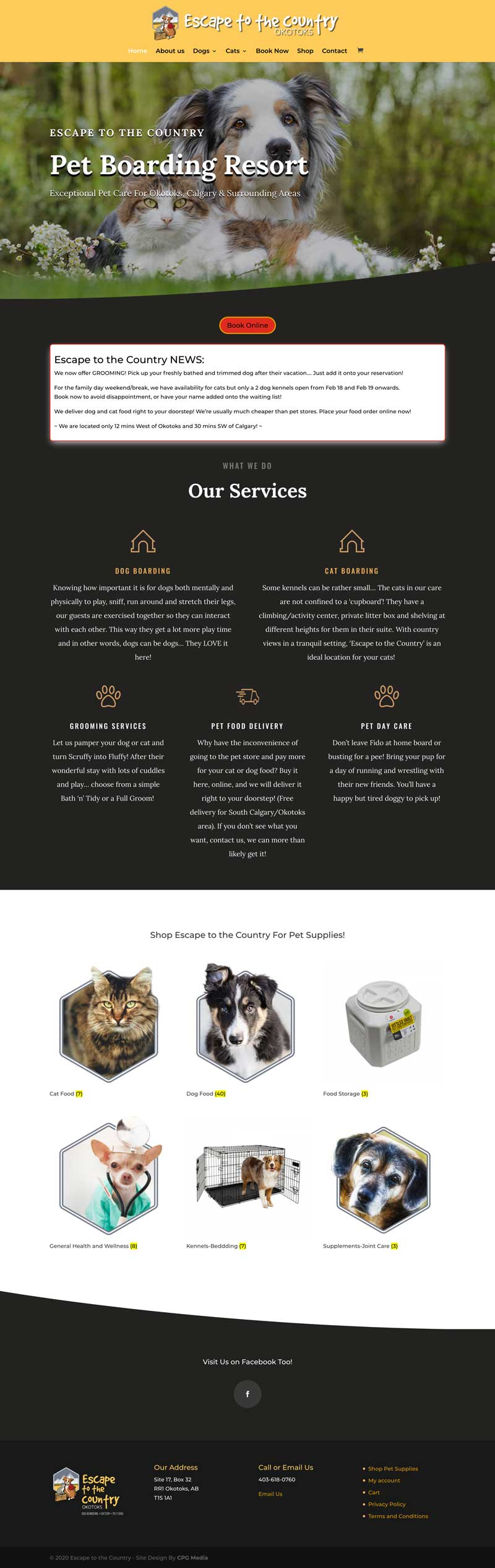 Escape To The Country Pet Boarding - CPG Web Design