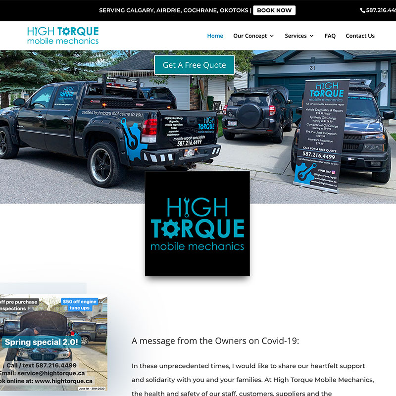 CPG Services | Web Design | High Torque Mobile Mechanics