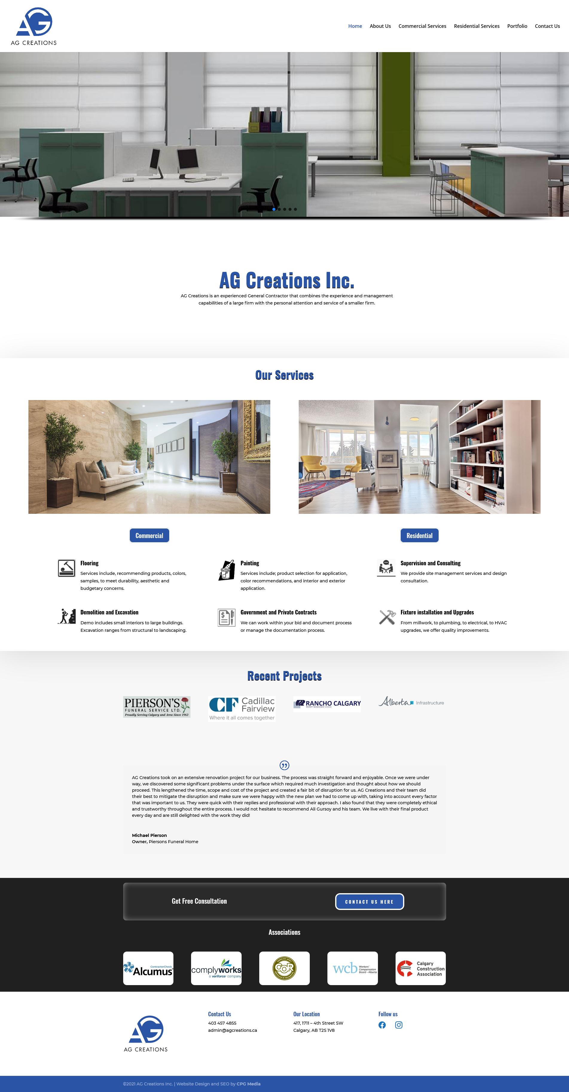AG Creations Website screen shot